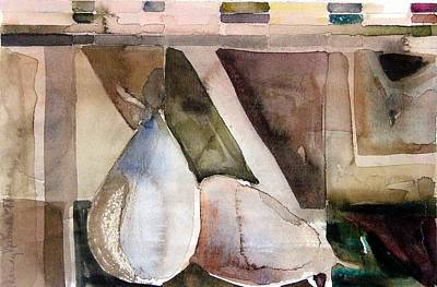 Pear Drawing - Pear Study In Watercolor by Mindy Newman