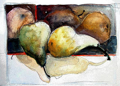 Digital Watercolor Painting - Pear Study by Mindy Newman