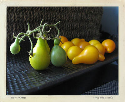 Photograph - Pear Tomatoes Polaroid Transfer by Tony Grider