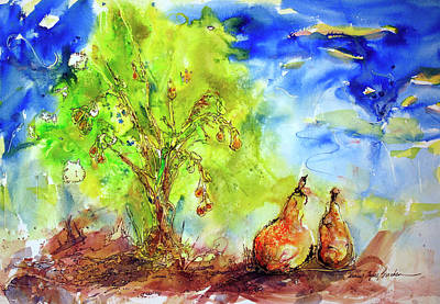 Pear Tree And Two Art Print by Shirley Sykes Bracken