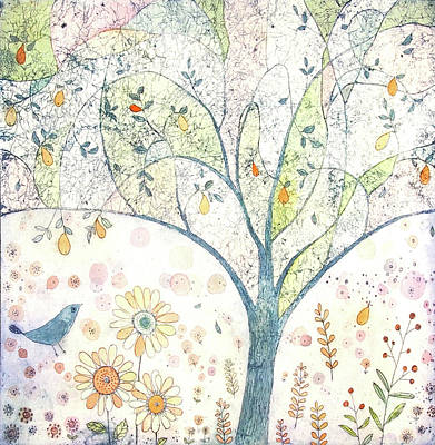 Pear Tree Mixed Media - Pear Tree With A Bluebird by Joanna Allen