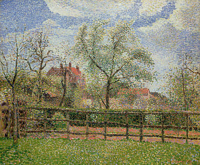 Pear Tree Painting - Pear Trees And Flowers At Eragny by Camille Pissarro