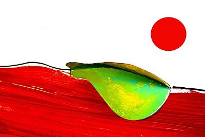 Artist Singh Painting - Pear Under The Red Sun by Artist Singh