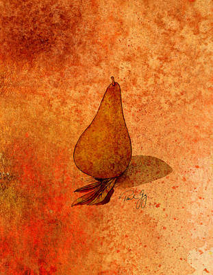 Pear Mixed Media - Pear With Sage by Paul Gaj