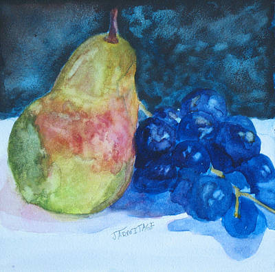 Pearcial To Grapes Art Print by Jenny Armitage