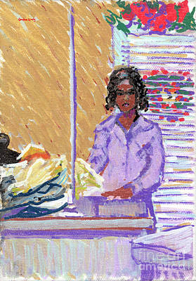 Country Schools Drawing - Pearl At The Clothes Press by Candace Lovely