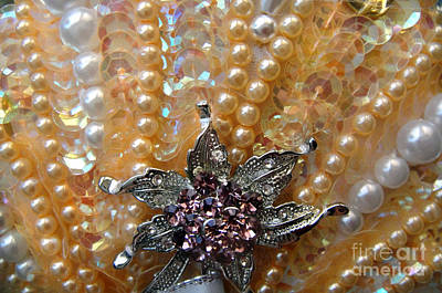 Pearl Bead Embroidery, Close-up Art Print