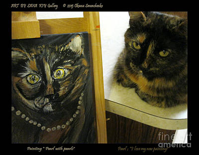 Painting - Pearl. Cat Portrait. I Love My New Painting.  by Oksana Semenchenko