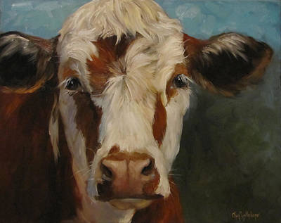 Cow Art Painting - Pearl by Cheri Wollenberg