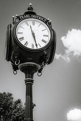 Photograph - Pearl District Black And White Clock Tower - Tulsa Oklahoma by Gregory Ballos