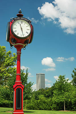 Photograph - Pearl District Clock And Tulsa Skyline by Gregory Ballos