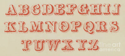Typographic Drawing - Pearl Letter Red Font by English School