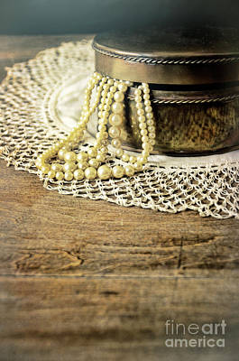 Photograph - Pearl Necklace Spilling Out Of Jewelry Box by Jill Battaglia