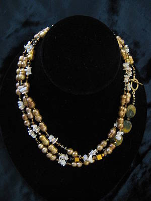 Heishi Jewelry - Pearl Opal Chip Necklace by Jan Durand