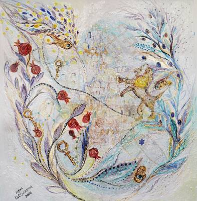Oriental Style Painting - Pearl Series #2. The Lion Of Jerusalem by Elena Kotliarker
