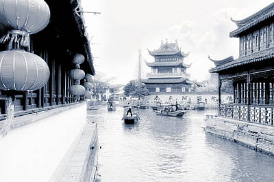 Pearl Stream River Blues - Zhujiajiao Near Shanghai Original by Christine Till
