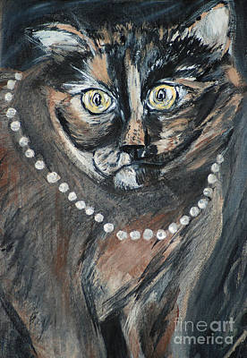 Painting - Pearl With Pearls. My Beautiful Cat by Oksana Semenchenko