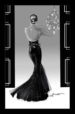 Fashion Illustration Drawing - Pearls And Diamons Ball by Nadia La Moretti