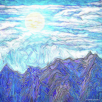 Digital Art - Pearly Mountain Sky - Moon Over Front Range Colorado by Joel Bruce Wallach