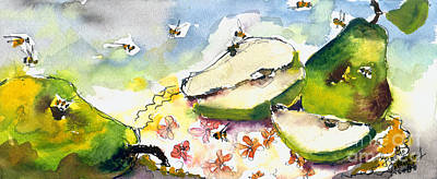 Painting - Pears And Bees  by Ginette Callaway
