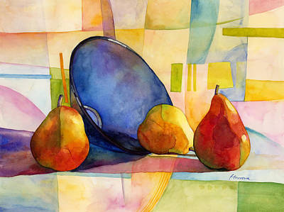 Contemporary Abstract Fruit Painting - Pears And Blue Bowl by Hailey E Herrera