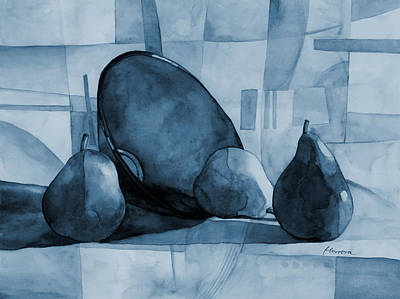 Contemporary Abstract Fruit Painting - Pears And Blue Bowl On Blue by Hailey E Herrera