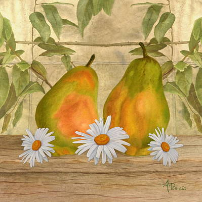 Still Art Mixed Media - Pears And Daisies by Angeles M Pomata