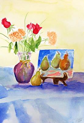 Painting - Pears And Flowers by Jamie Frier