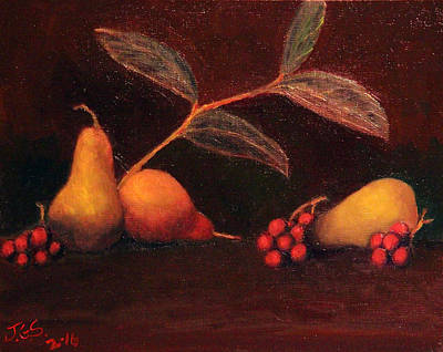 Painting - Pears And Grapes by Janet Greer Sammons