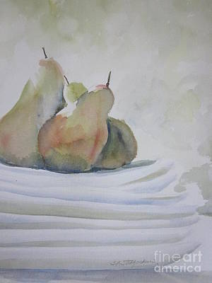 Stoneware Painting - Pears And Plates by Sandra Strohschein