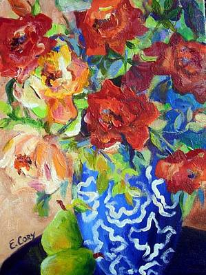 Painting - Pears And Roses by Elaine Cory