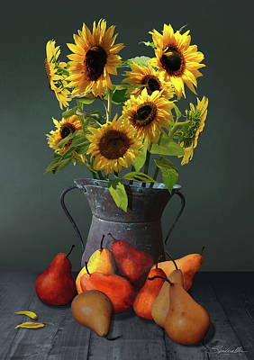 Digital Art - Pears And Sunflowers by IM Spadecaller