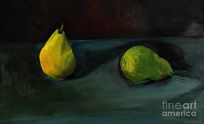 Art Print featuring the painting Pears Apart by Daun Soden-Greene