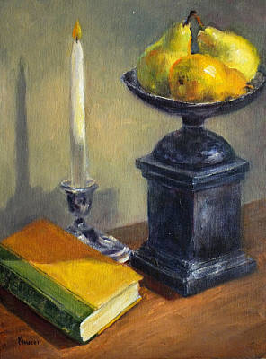 Painting - Pears, Book And Candle by Jill Musser