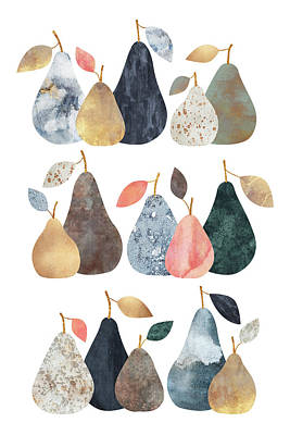 Pear Wall Art - Mixed Media - Pears by Elisabeth Fredriksson