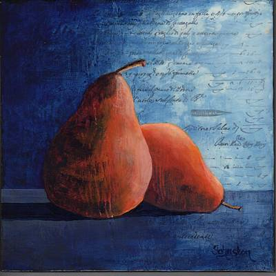 Painting - Pears Got The Blues by Cindy Johnston