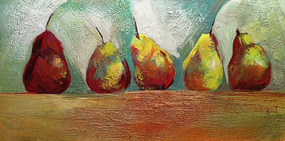 Encaustic Painting - Pears In A Row by Barbara Hranilovich