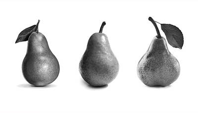 Apple Photograph - Pears In Black And White by Mark Rogan