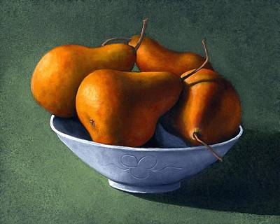 Christmas Christopher And Amanda Elwell Rights Managed Images - Pears in Blue Bowl Royalty-Free Image by Frank Wilson