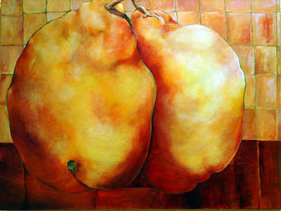 Pears In Love Art Print by Nadine Dennis