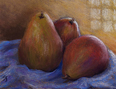 Pears In Natural Light Art Print by Susan Jenkins
