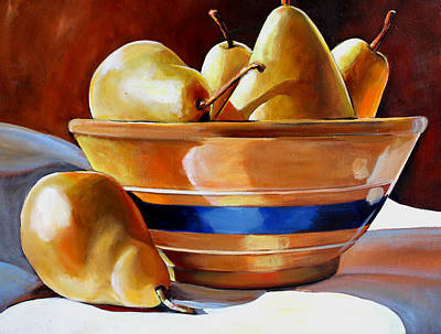 Mixing Bowls Painting - Pears In Yelloware by Toni Grote