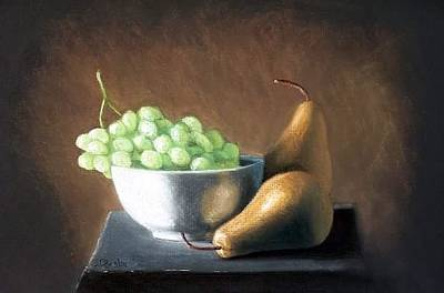 Painting - Pears N Grapes by Joseph Ogle