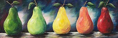 In A Row Painting - Pears Of Color - Two - Sold by Torrie Smiley