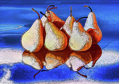 Digital Art - 7 Golden Pears  by OLena Art Brand