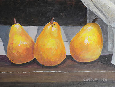 Painting - Pears On My Windowsilll by Carol L Miller