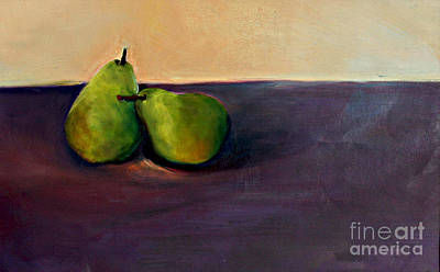 Art Print featuring the painting Pears One On One by Daun Soden-Greene