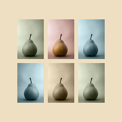 Repeat Photograph - Pears Squared by Carol Leigh