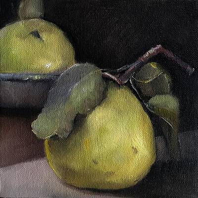 Painting - Pears Stilllife Painting by Michele Carter