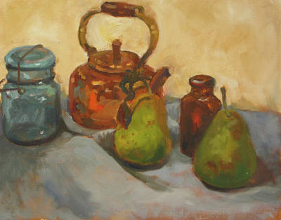 Painting - Pears With Copper Kettle by Nora Sallows